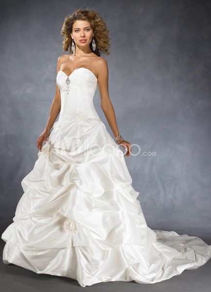 A-line Ball Gown Strapless Draped Taffeta Wedding Dress