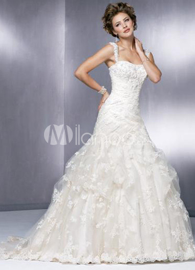 Bal Gown Applique Draped Lace Satin Wedding Dress