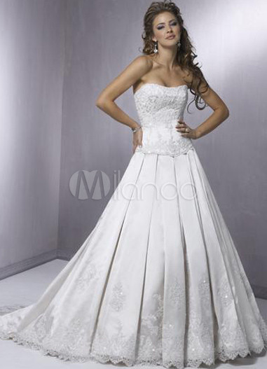 Ball Gown Embroidery Strapless Satin Wedding Dress