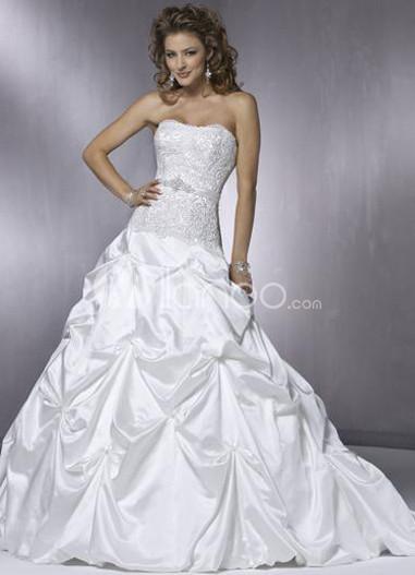 Ball Gown Strapless Applique Taffeta Draped Wedding Dress