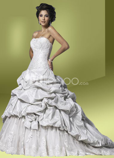 Ball Gown Strapless Draped Taffeta Wedding Dress