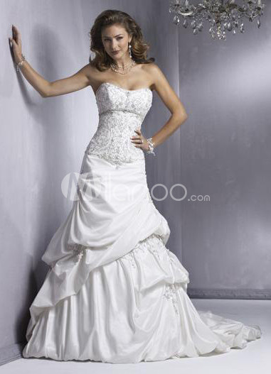 Ball Gown Strapless Taffeta Draped Wedding Dress