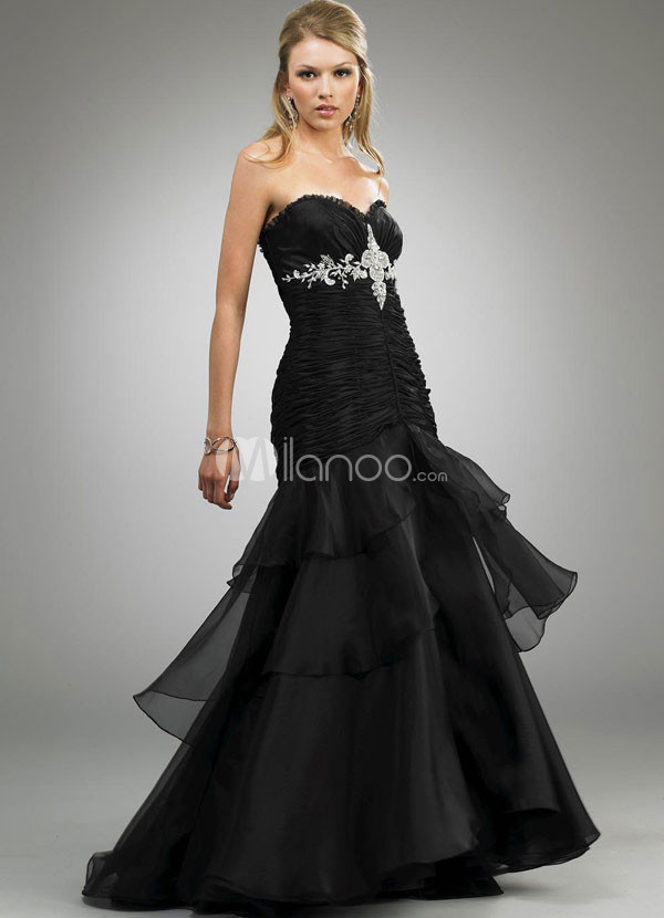 Black Satin And Organza Mermaid Prom Dress
