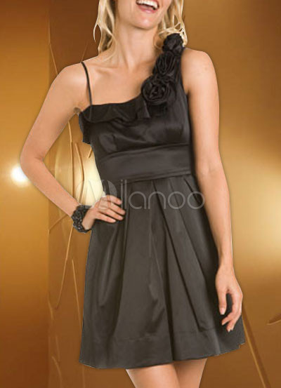 Black Mini Satin Prom Dress/Homecoming Dress