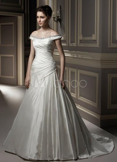 Ivory off the shoulder a line taffeta bridal gown for Off the shoulder taffeta wedding dress
