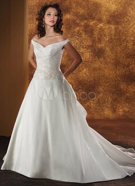 White off the shoulder a line taffeta lace bridal dress for Off the shoulder taffeta wedding dress