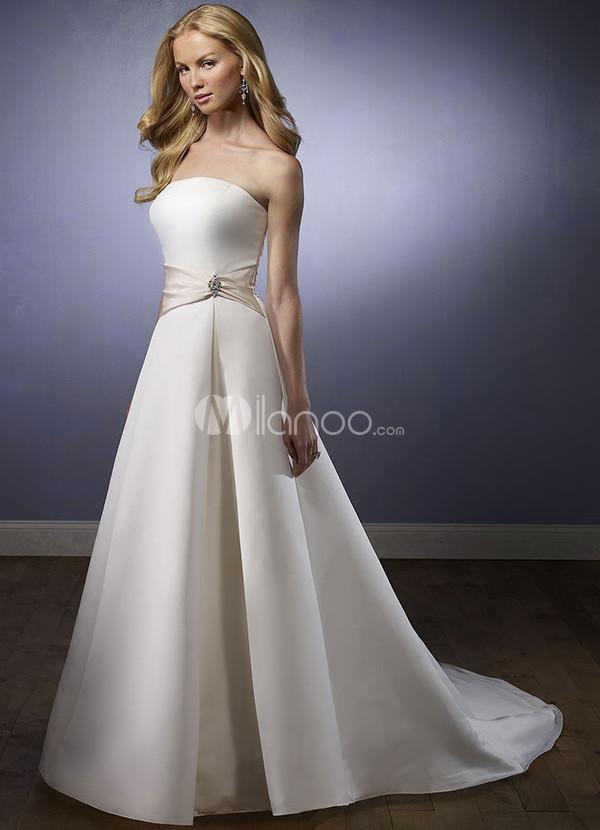 Ivory Strapless Satin Sash Wedding Dress