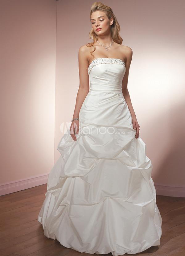 White Ball Gown Strapless Taffeta Wedding Dress