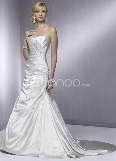 Mermaid  Beading Strapless Taffeta Wedding Dress