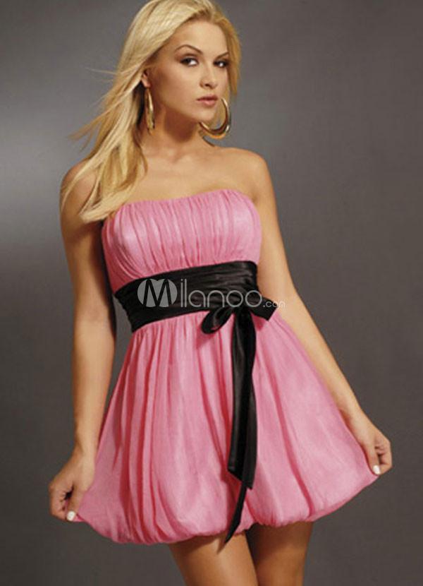 Pink Short Taffeta Sash Prom Dress
