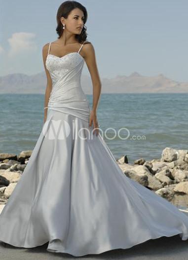 Silver Spaghetti A-line Satin Wedding Dress