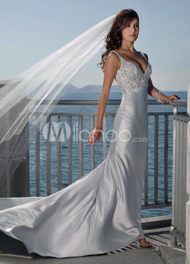 Silver V-Neck A-line Satin Wedding Dress