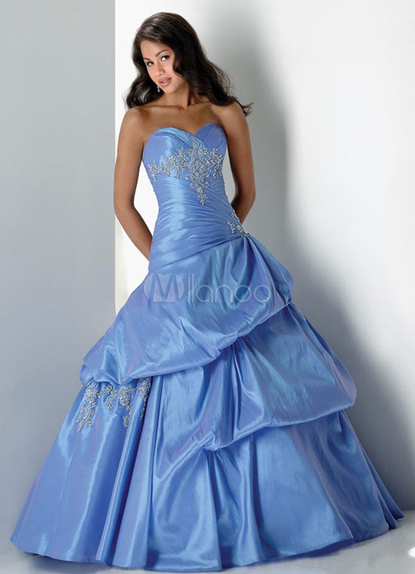 Lavender Elegant Ball Gown Strapless Sweetheart Corset Beading Lace Taffeta Ball Gown Dress