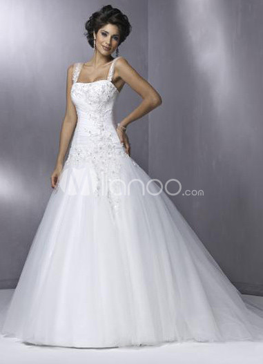 White A-line Lace Satin Tulle Wedding Dress