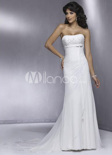 White A-line Strapless Beading Chiffon Wedding Dress