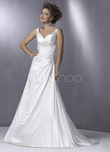 White A-line V-Neck Satin Wedding Dress