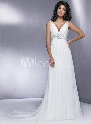 White Deep V-Neck A-line Chiffon Wedding Dress