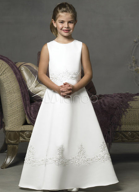 A-line V-neck Court Train Satin Embroidery Wedding Dress - US$ 249.99