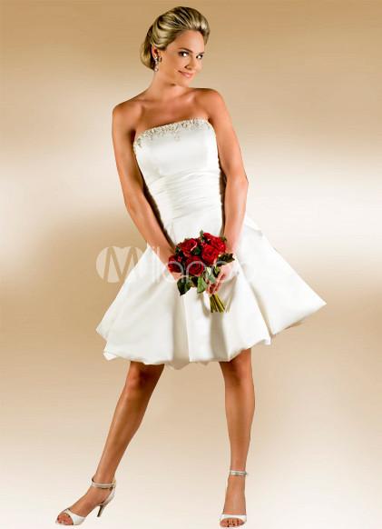 White Satin Short Wedding Dress