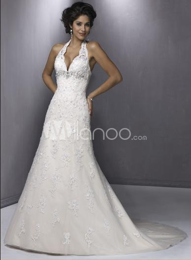 White Halter A-line Lace Satin And Lace Wedding Dress