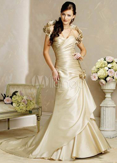 A-line Satin Floral Accent Wedding Dress
