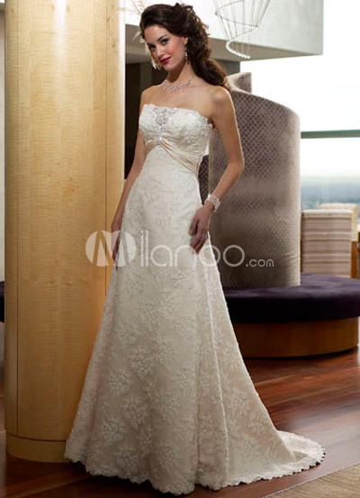 Allover Lace Satin Luxury Wedding Dress