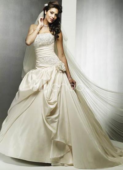 Applique Satin Lace Wedding Dress