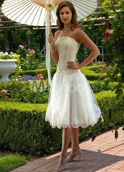 White Applique Organza Satin Wedding Dress