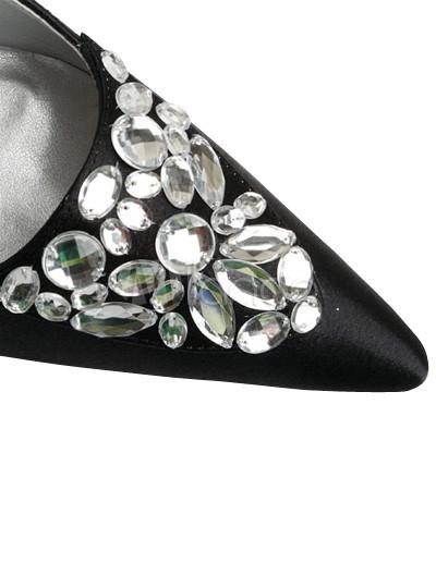 Satin Wedding Shoes on Black Slingback Satin Wedding Shoes   Milanoo Com