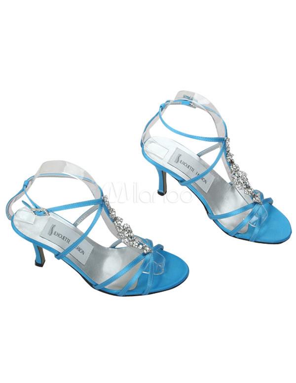 Blue Satin Rhinestone Prom Sandals