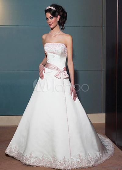 Embroidery Sash Satin Wedding Dress