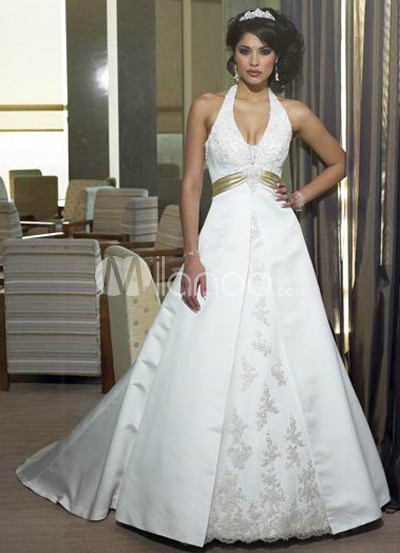 Halter Sash Applique Satin Wedding Dress