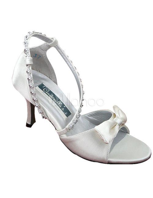 Ivory Satin Bow Wedding Sandals