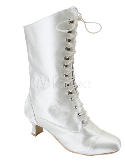 Fashion Western Boots Wholesale on Ivory Satin Lace Tie Boots   Milanoo Com