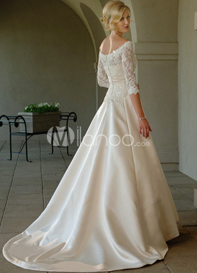 Wedding Gowns  Long Sleeves on Lace Sleeves Off The Shoulder Satin Wedding Dress   Milanoo Com