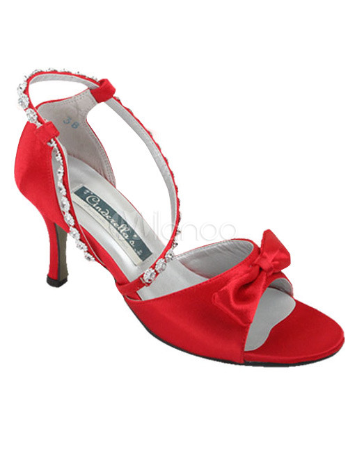 Red Satin Bow Prom Sandals