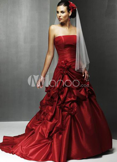 Red Satin Pick-up Wedding Dress