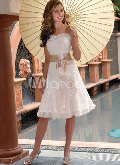 Ivory Satin Lace Champagne Sash Mini Wedding Dress