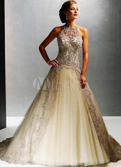 Satin Lace Organdie Wedding Dress