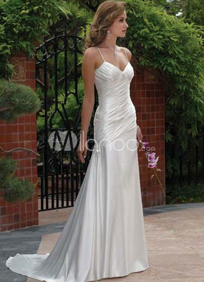 Spaghetti Pleated Satin Wedding Dress