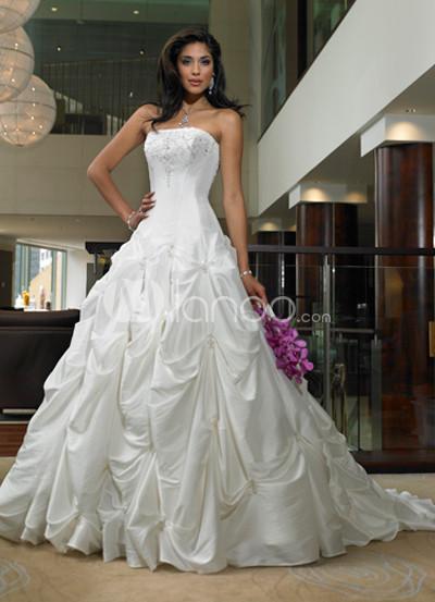 Taffeta Beaded Pick-Up Wedding Dress