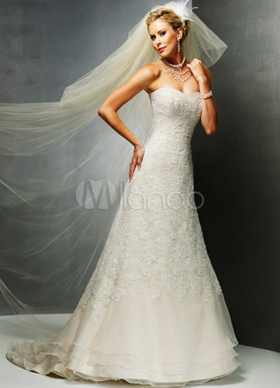 White A-line Satin Lace Luxury Wedding Dress