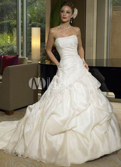 White Beaded A-line Taffeta Wedding Dress