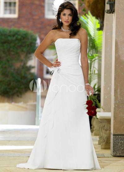 White Satin A-line Wedding Dress