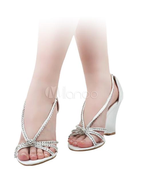 white satin rhinestone wedding wedge sandals no1