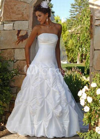White Strapless Taffeta Wedding Dress