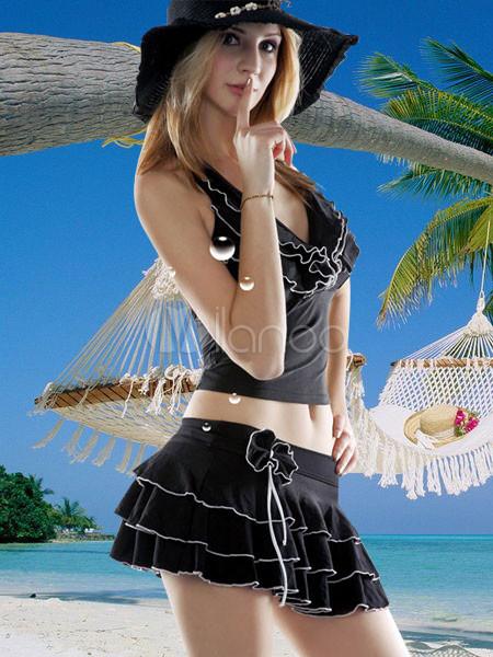 Vestidos De Baño Estilo Halter:Vestido de Negro Traje de baño de dos piezas con falda tankini