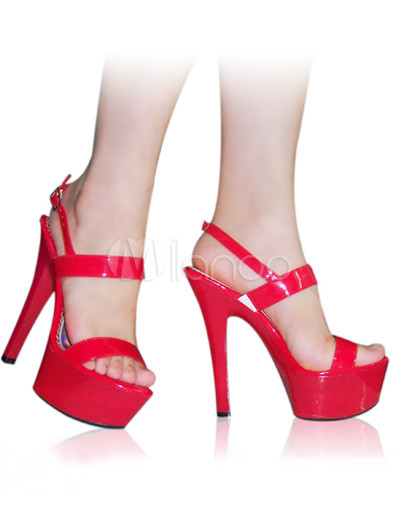 "6"" High Heel Red Patent Platform Sexy Sandals"