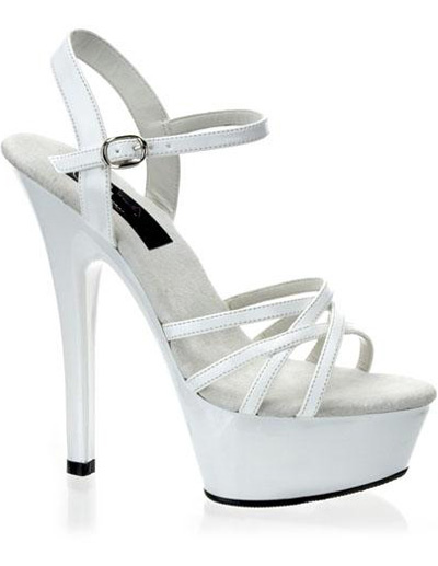 High Heel White PU Ankle Strap Platform Sandals - Milanoo.com