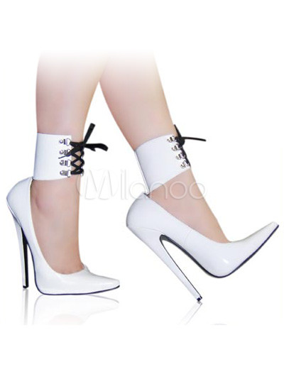 High Heel White Patent Ankle Straps Sexy Pumps - Milanoo.com
